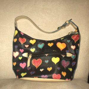Handbags - Adorable black purse with colorful hearts.